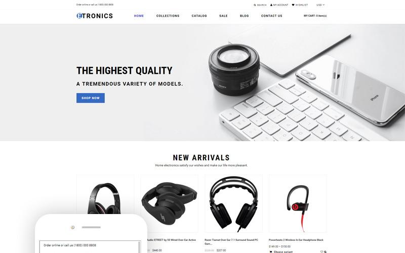 ETRONIX - Готовая к использованию минималистичная тема Shopify для магазина электроники
