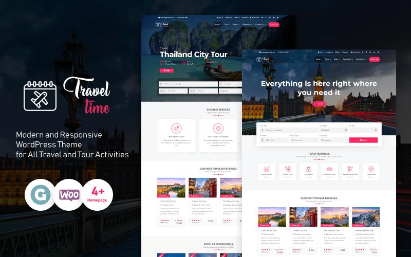 TravelTime - полная тема WordPress для туристических агентств