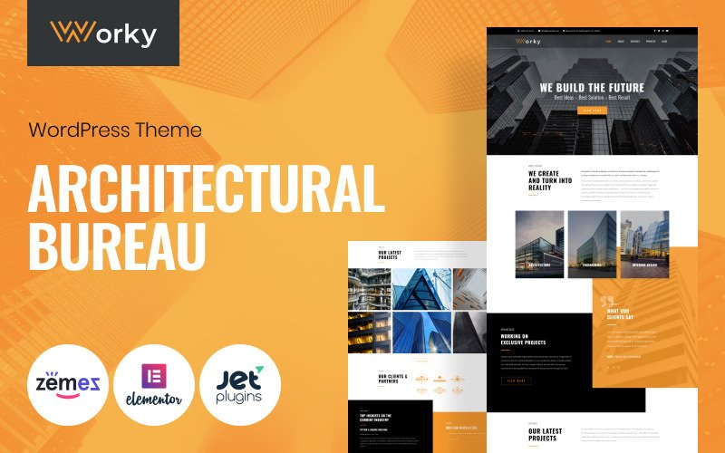 Worky - Architecturaal bureau Multifunctioneel modern WordPress Elementor-thema