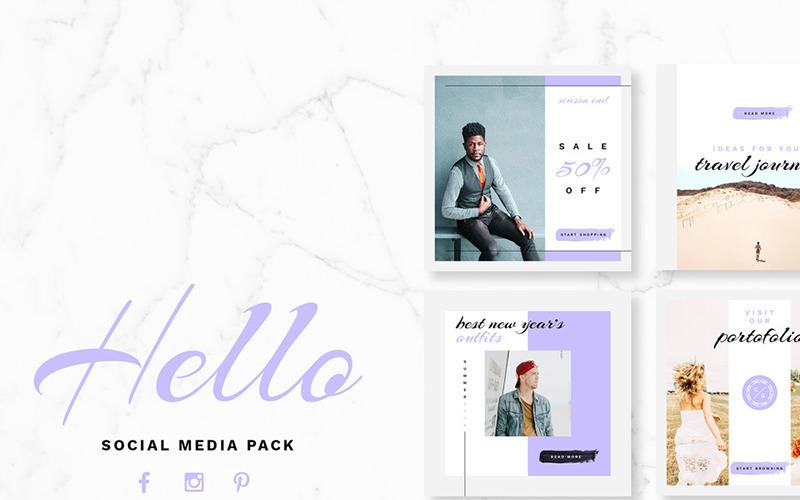 Plantilla de redes sociales Hello Pack