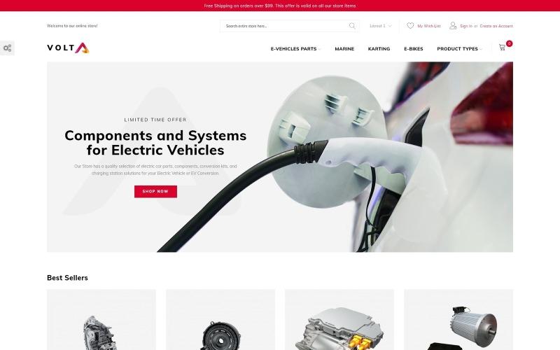 Volta - Teile und Komponenten von Elektrofahrzeugen Minimales Magento-Thema