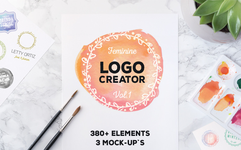 Logo Creator 380+ Öğeler ve Mock-Ups Logo Şablonu