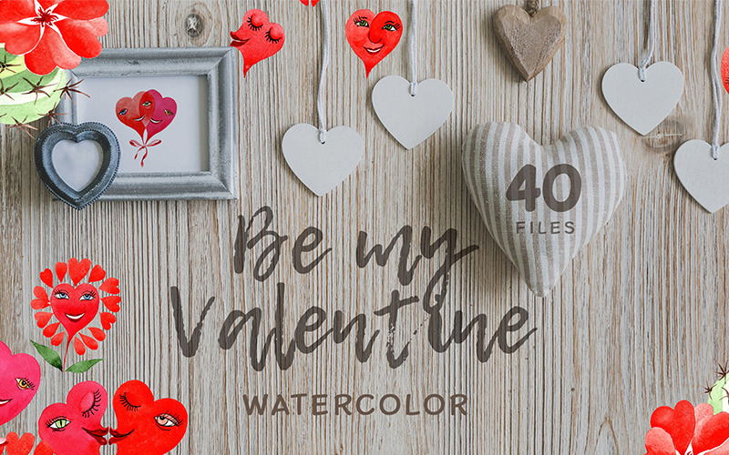 Valentines Hearts Watercolor Png - Illustration