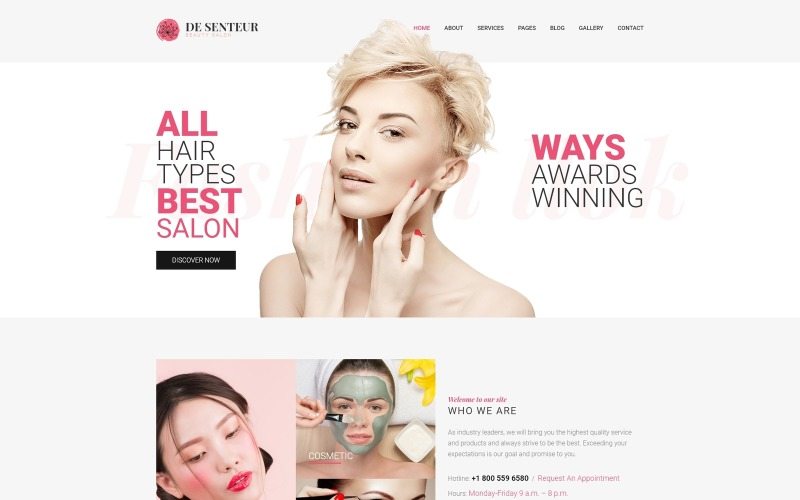 De Senteur - Beauty Salon Parallax Sophisticated Joomla Template