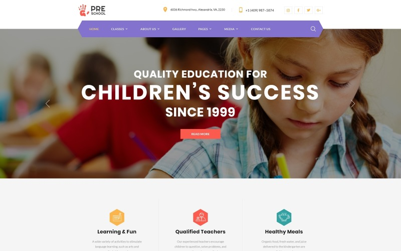 Дошкольное учреждение - Образовательный многостраничный чистый HTML-шаблон веб-сайта
