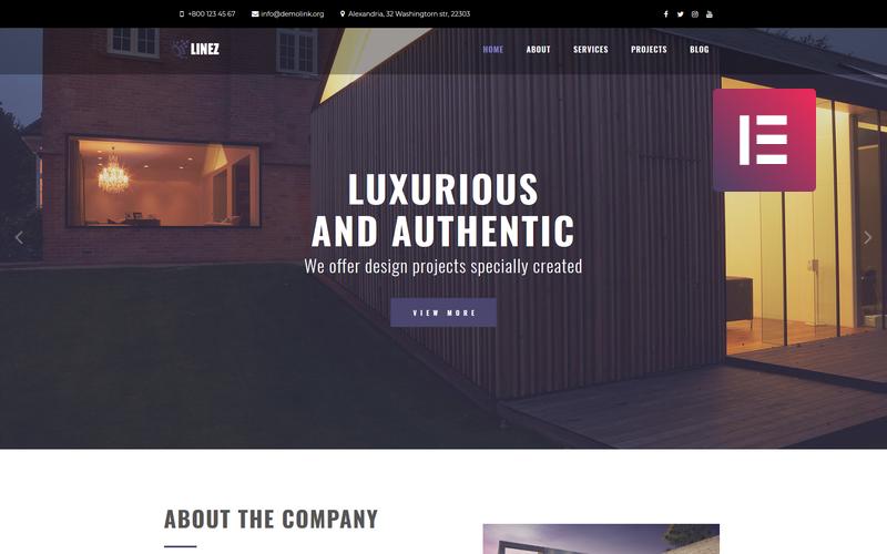 Linez - Многоцелевая современная тема WordPress Elementor для архитектурных служб
