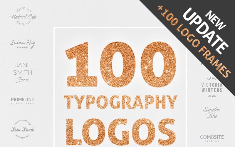 100 logotipos de tipografía + plantilla de logotipo de 100 cuadros