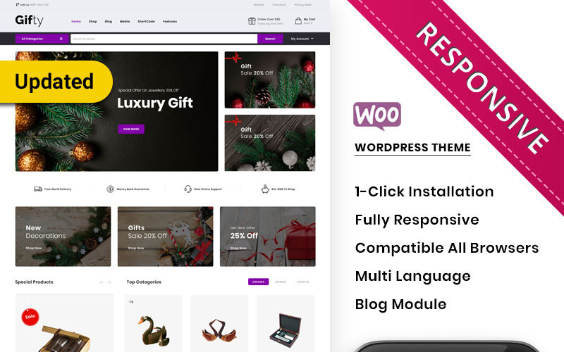 Gifty - адаптивная тема WooCommerce для магазина подарков