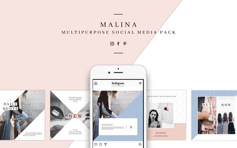 Шаблон для социальных сетей MALINA Pack & 20 Pattern