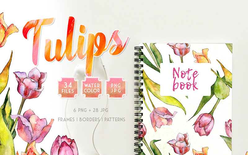 Tulips for Love  Watercolor png - Illustration