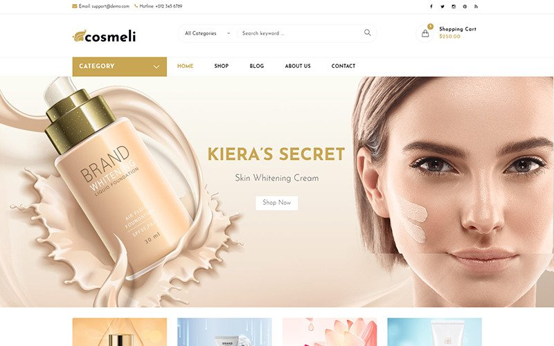 Cosmeli -  Cosmetics & Beauty for WordPress. WooCommerce Theme