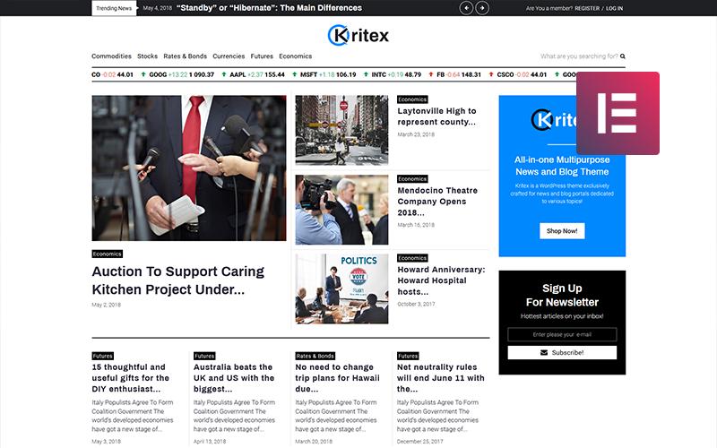 Kritex - Blog firmowych wiadomości Nowoczesny motyw WordPress Elementor