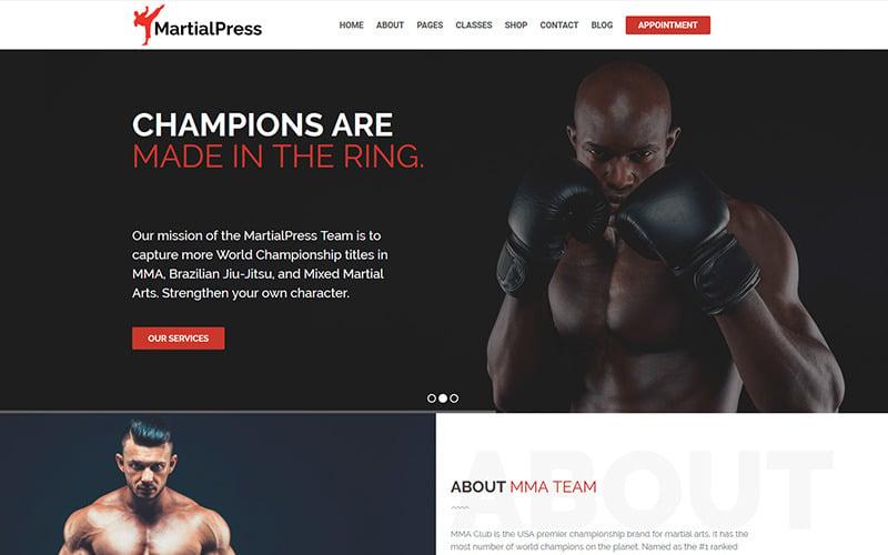 MartialPress - Martial Arts School and Club WordPress Theme