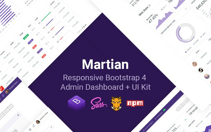 Martian - Developer-friendly Bootstrap 4 + UI Kit Admin Template
