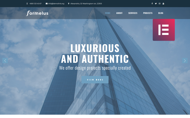 Formelus - Architecture Multipurpose Modern WordPress Elementor Theme