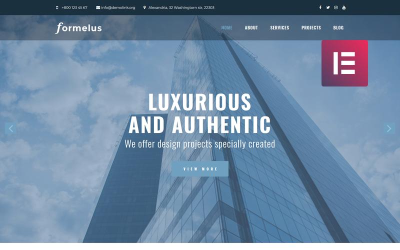 Formelus - многофункциональная современная тема WordPress Elementor для архитектуры
