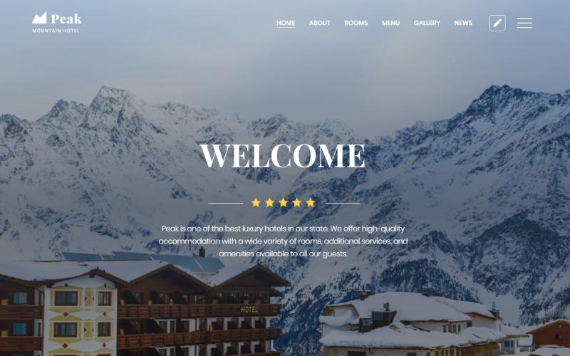 Peak - Hotell En sida Rengör HTML-målsidesmall