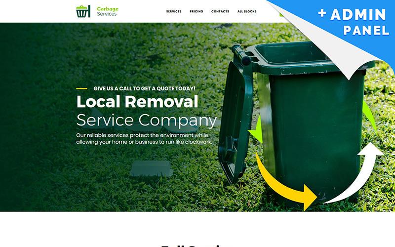 Modelo de página de destino de serviços de lixo