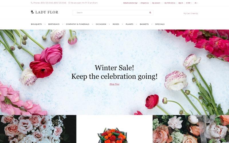 Lady Flor - Многостраничный креативный OpenCart шаблон цветочного магазина