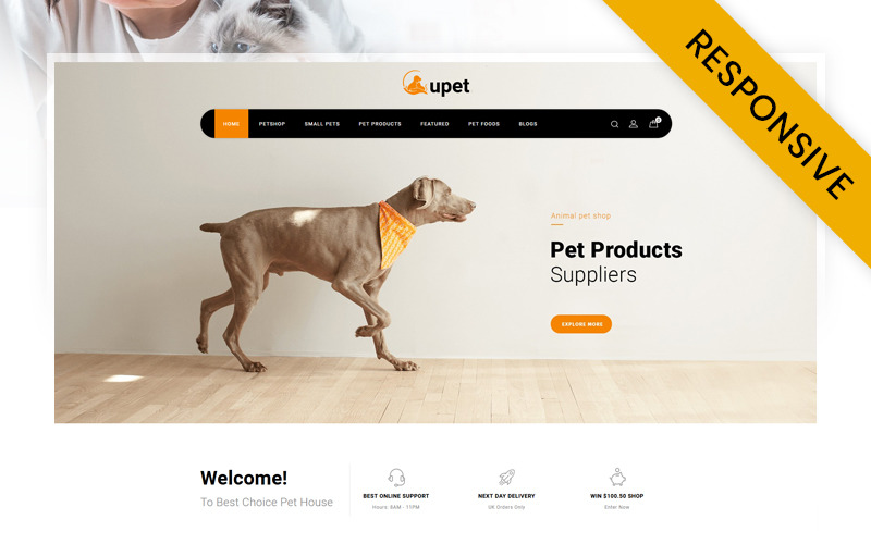 Upet Pets Store OpenCart Template