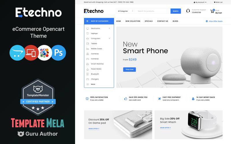 Etechno - Elektronik Mağazası OpenCart Şablonu