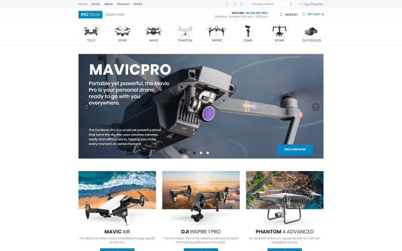 Pictrum - Drone Store ECommerce Minimal Elementor WooCommerce Theme
