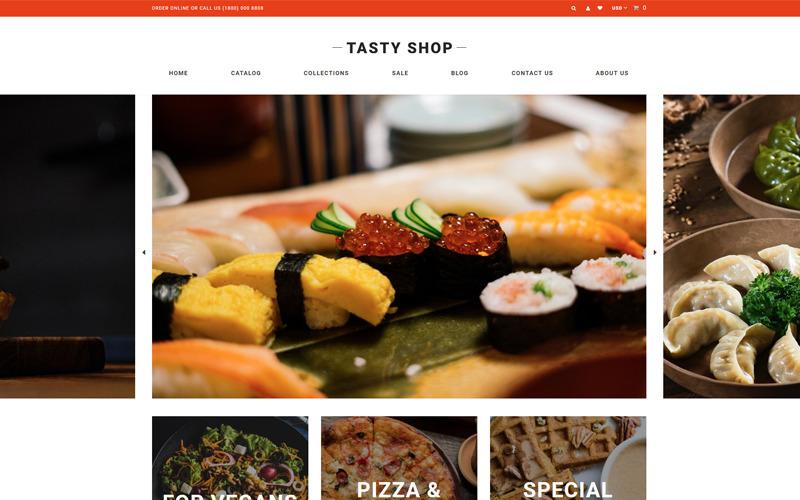 Tasty Shop - Еда и ресторан Чистая тема Shopify
