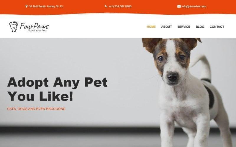 Vier Pfoten - Pet Services Mehrzweck-klassisches WordPress-Elementor-Thema
