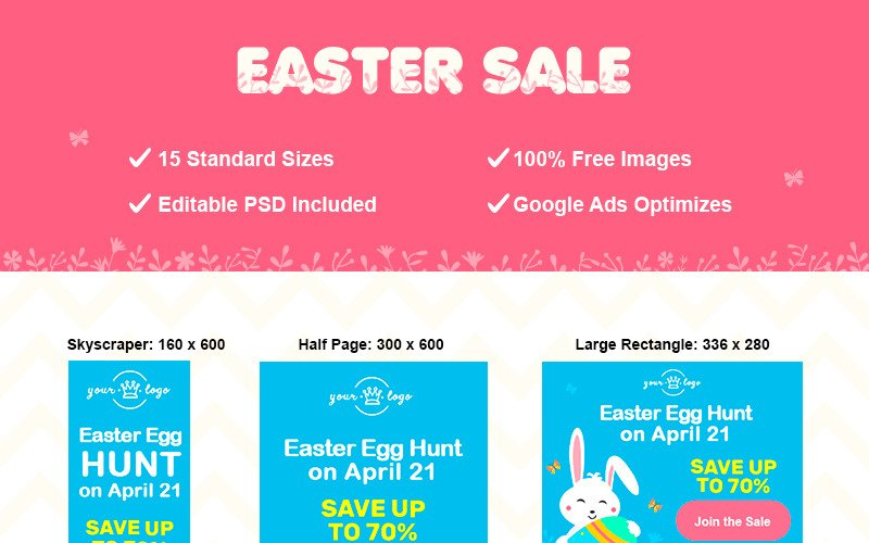 Easter Adwords Set Animated Banner