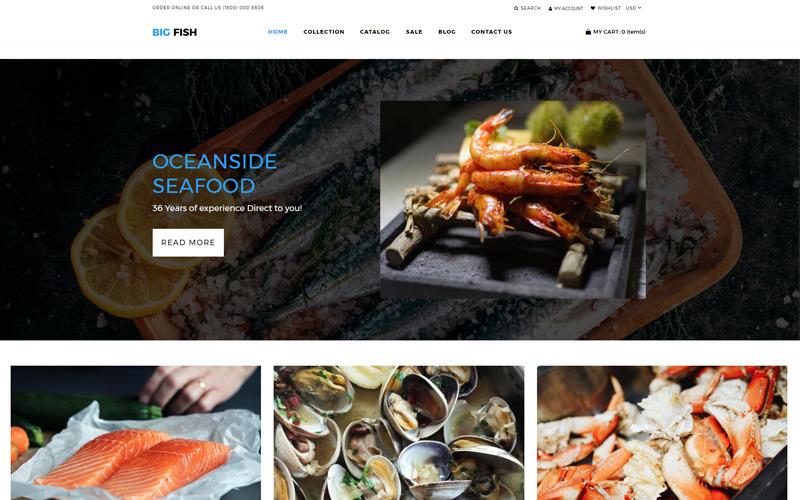 Big Fish - Ресторан морепродуктов Яркая тема Shopify