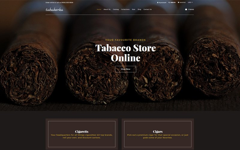 Tabakerka - Tobacco Multipage Clean Shopify Theme