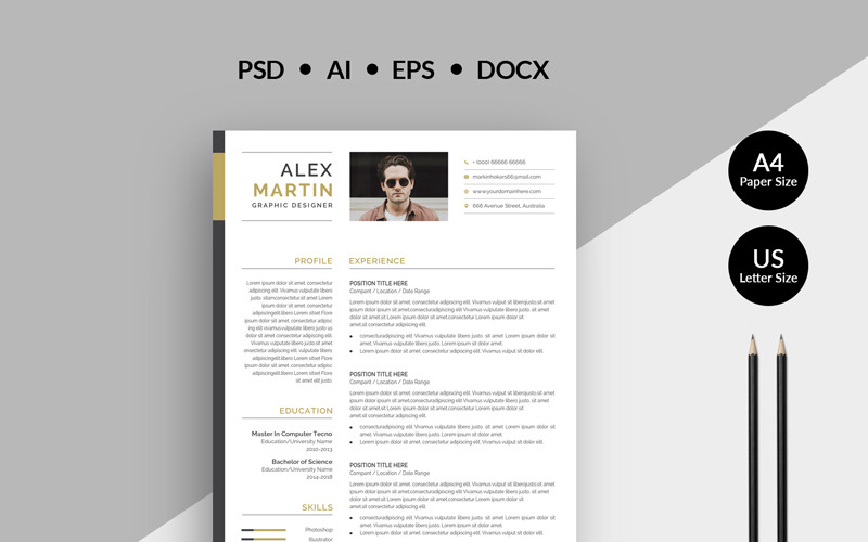 Alex Martin Modern Creative Resume Template 77858