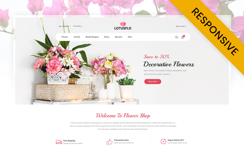 Lotusflo - Flowers Store OpenCart-sjabloon