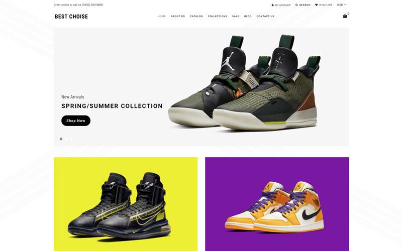 Melhor escolha - Tema Shopify Clean para loja de sapatos