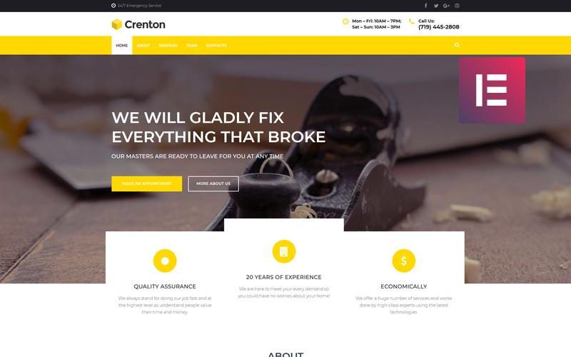 Crenton - Konstrukce Víceúčelové moderní téma WordPress Elementor