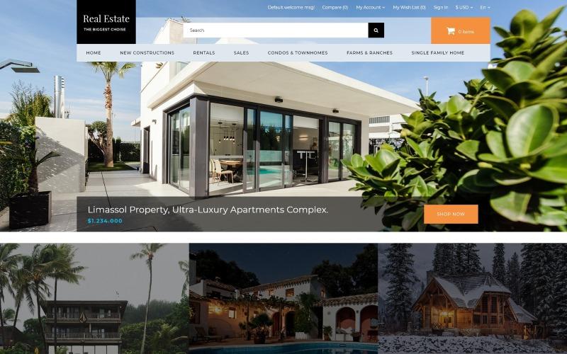 Недвижимость - Агентство недвижимости Чистый OpenCart шаблон