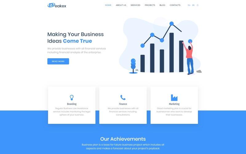 Peakex - Tema de Elementor de WordPress para infografía multipropósito de finanzas