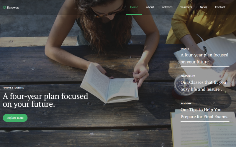 Knowes - Tema moderno multipropósito de WordPress Elementor para educación