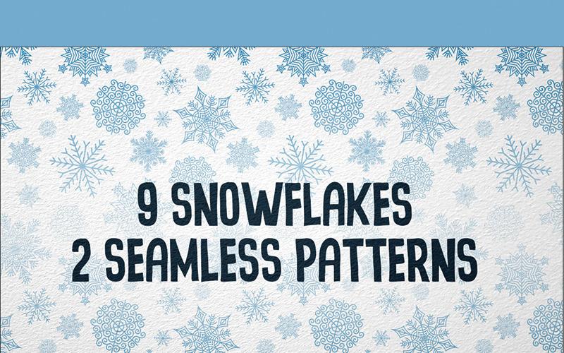 9 sněhových vloček - ilustrace