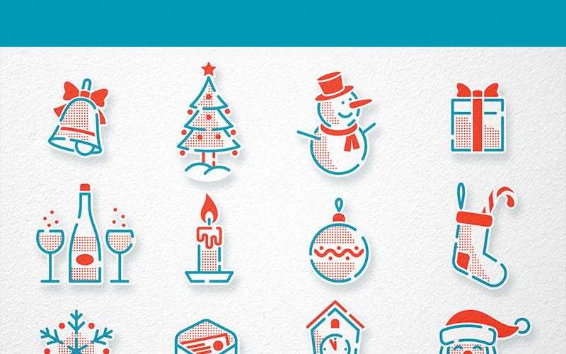 Weihnachten Neujahr Icons Set - Illustration