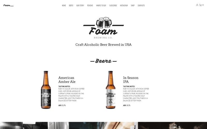 Foam - Beer Pub ECommerce Eine Seite Modern Elementor WooCommerce Theme