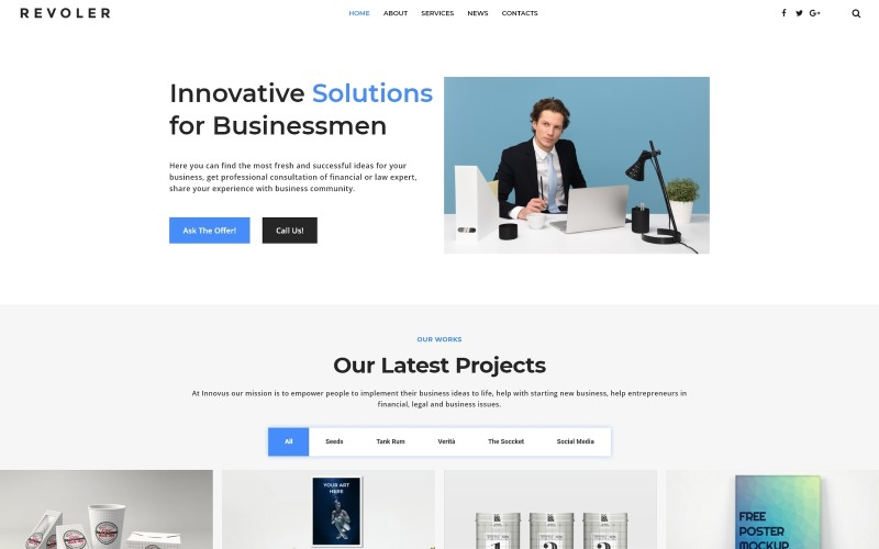 Revoler - Business Multipurpose Minimal WordPress Elementor Theme