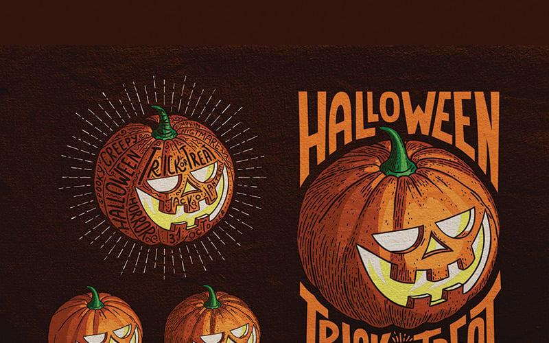 Halloween Pumpkin Engraving Style - Illustration