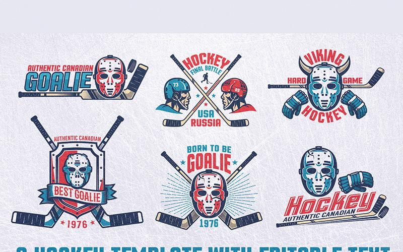 Hokej Emblemat Retro Bundle - Ilustracja