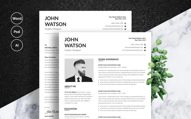 john watson with business card resume template  78463