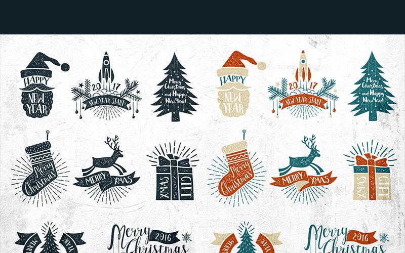 Vintage Weihnachtsetiketten - Illustration