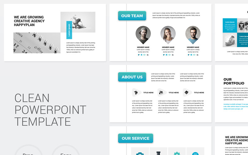 Company Clean Powerpoint Template 78540