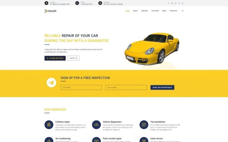 Draxer - Многоцелевая минимальная тема для ремонта автомобилей WordPress Elementor