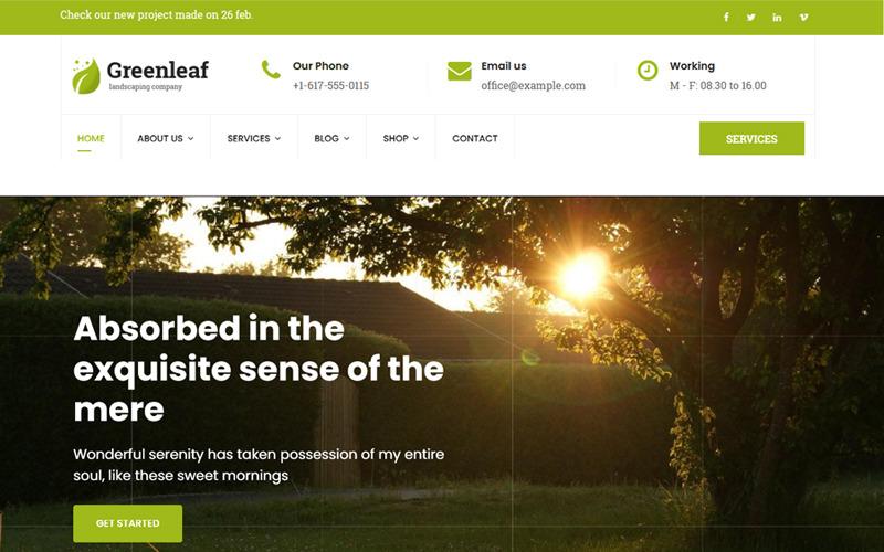 Greenleaf - Joomla-sjabloon voor tuinieren, gazon en landschapsarchitectuur