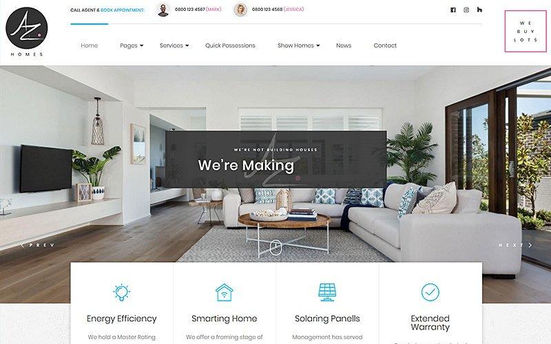 WordPress motiv AZhomes - Local Home Builders